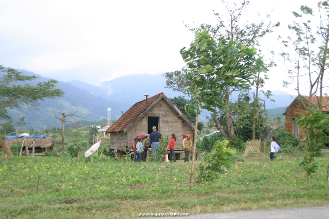 Local ethnic villages en route in the central highland Vietnam