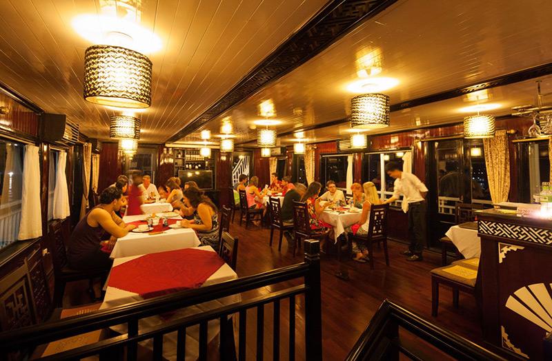 Restaurant on boat Halong